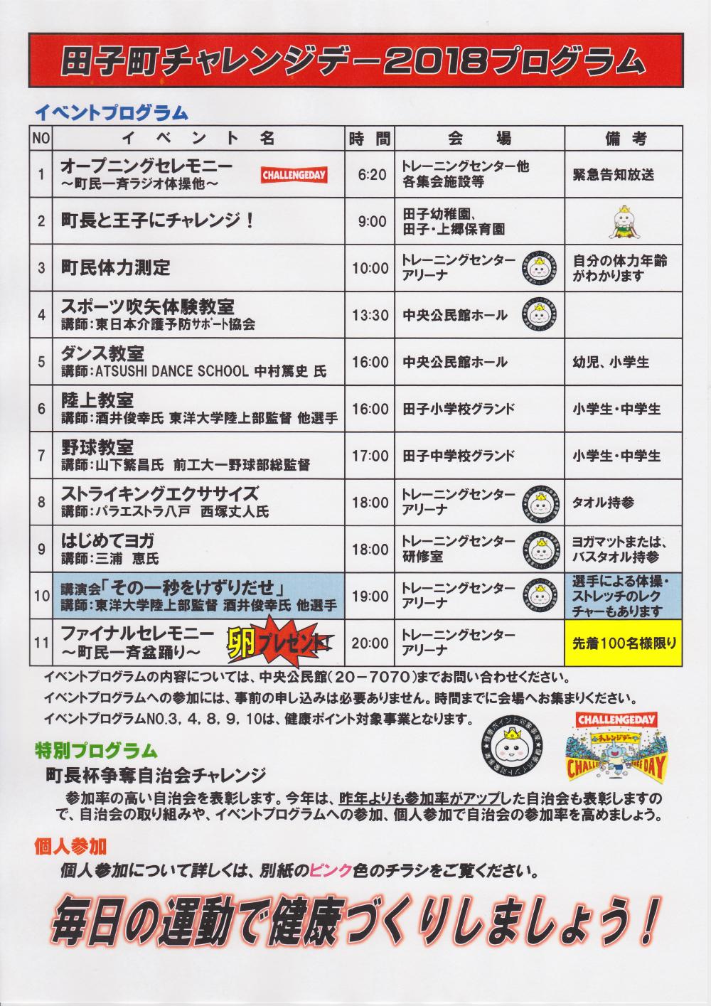 田子町チャレンジデー2018 チラシ ウラ