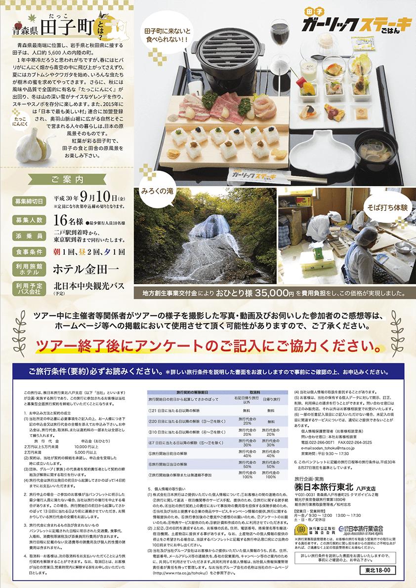 食欲の秋!田子町うまいもん食べつくしツアー2018 チラシ裏
